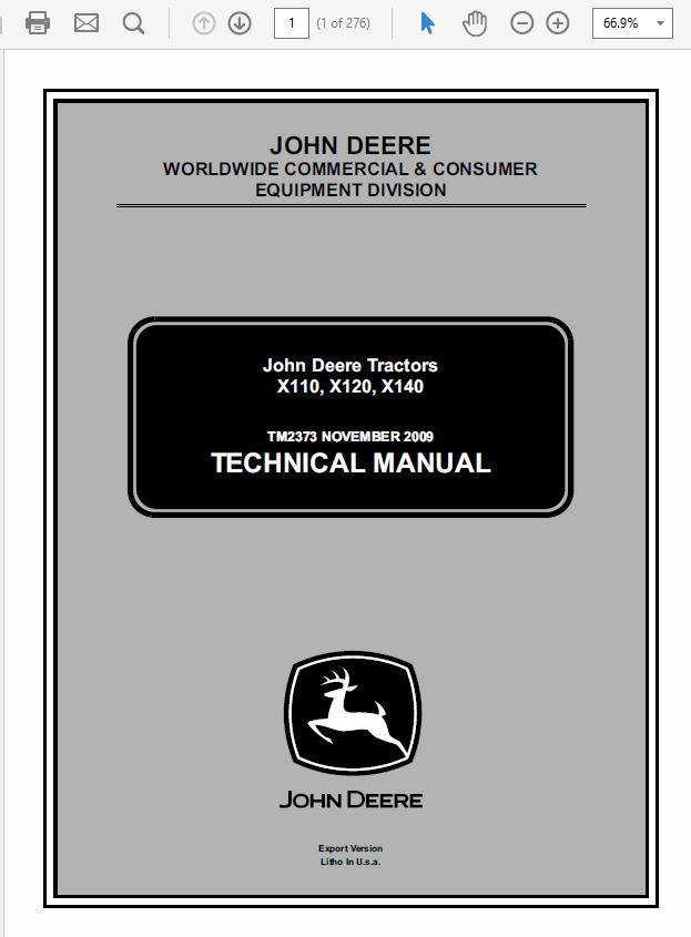 John Deere X110, X120, X140 Tractors Service Manual TM