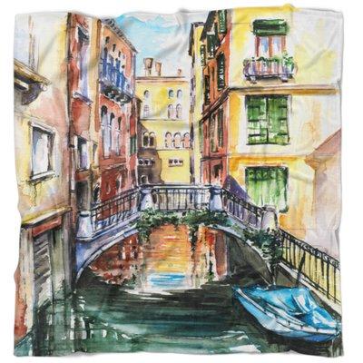 East Urban Home Cityscape Venice Canal Meeting Bridge Blanket Size 71 W X 78 L Cityscape Canvas Art Prints Bridge Painting