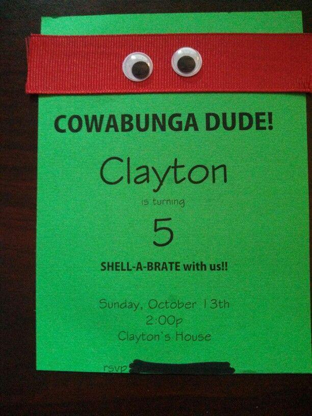 Teenage Mutant Ninja Turtles. TMNT 5th birthday party invitation ...