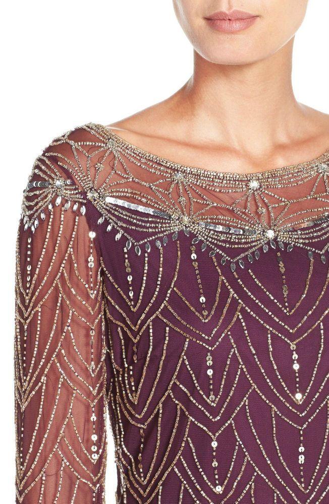 PLUM FLAPPER CHARLESTON GATSBY DRESS SIZE UK 12 EMBELLISHED BURGUNDY in Kleidung & Accessoires, Damenmode, Kleider   eBay