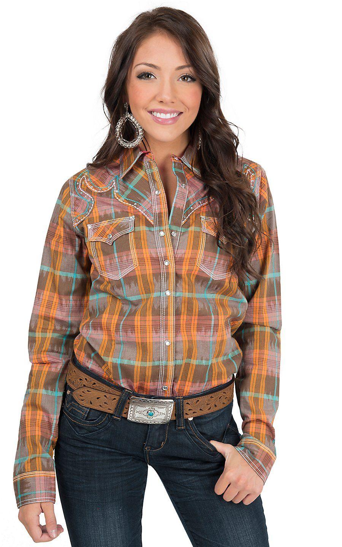 eb776263a Rock 47 by Wrangler Women's Orange Multicolor Plaid Long Sleeve Western  Shirt   Cavender's