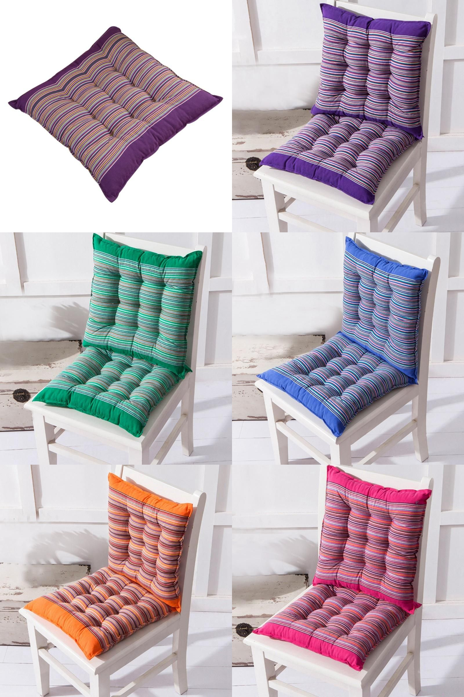 Visit to Buy] Striped Chair Cushion Soft Square Seat Pads Back