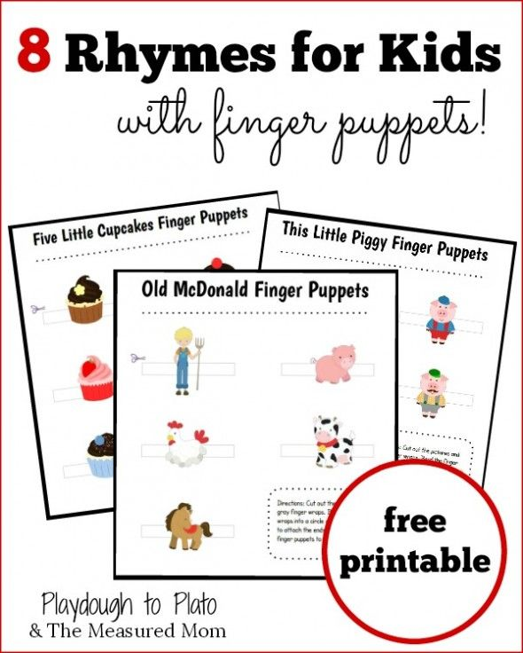 This Set Of 8 Free Nursery Rhymes With Puppets From The Measured Mom And Playdough To Plato Includes 5 Little Monkeys Jumping On T