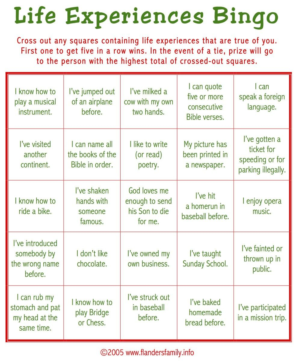 """Today\'s game is """"Life Experiences BINGO."""" This makes a great ice ..."""