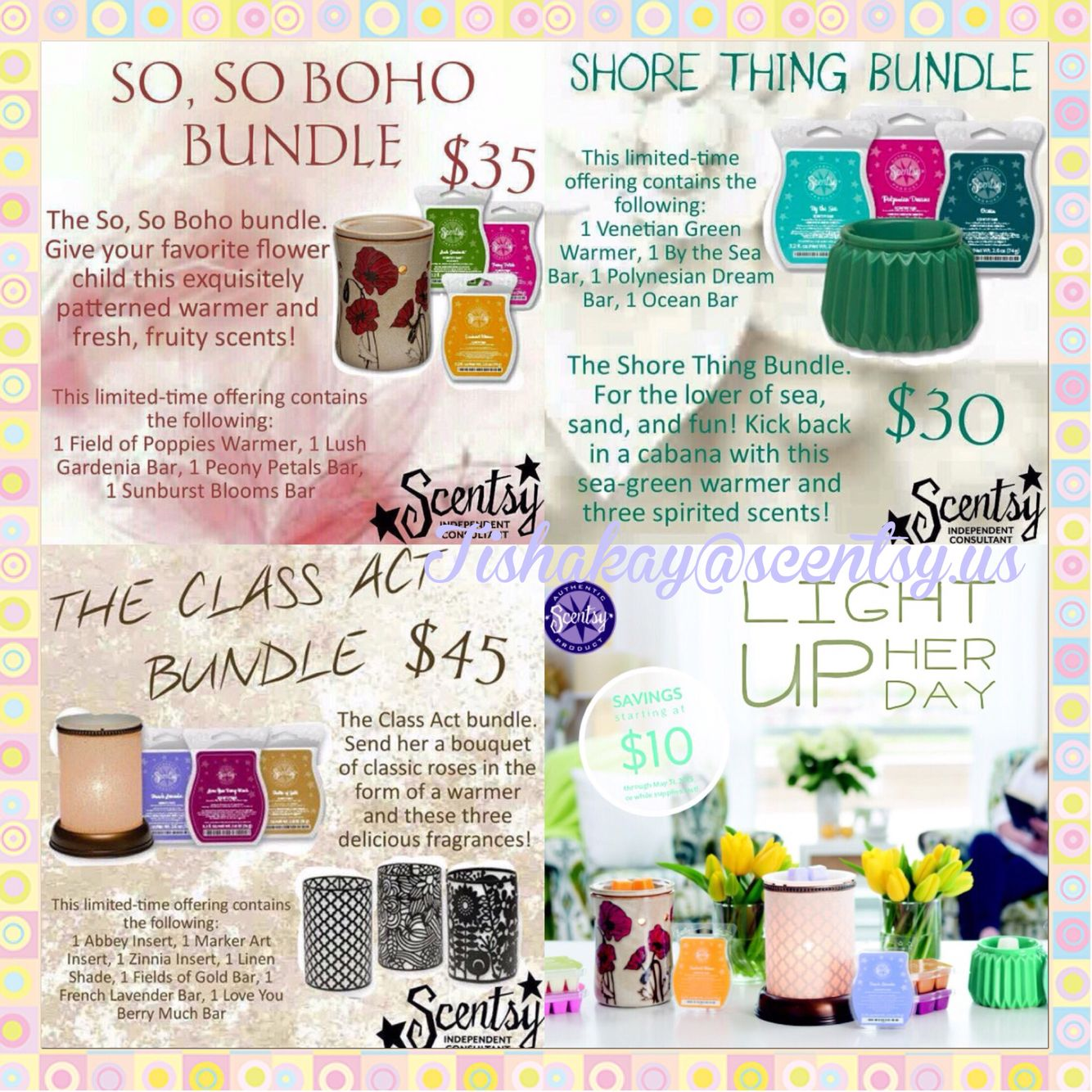 Awesome Mother's Day specials. Now through May 31st while supply's last!!  Www.tishakay.scentsy.us #scentsy #wickless #practicesafescents #mothersday