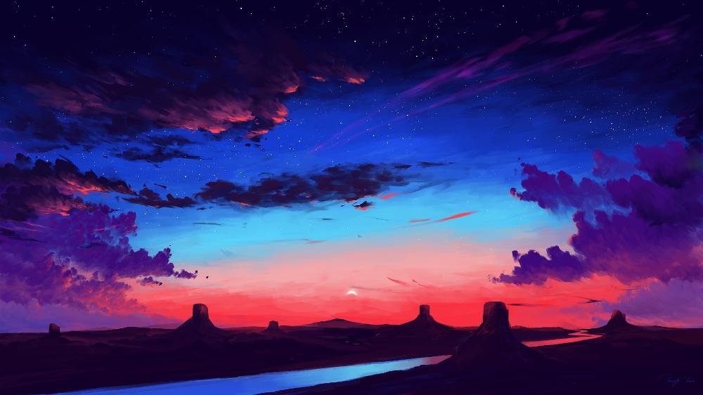 Desktop Wallpaper River, Beautiful Sky, Sunset, Art, Hd Image, Picture, Background, 431668