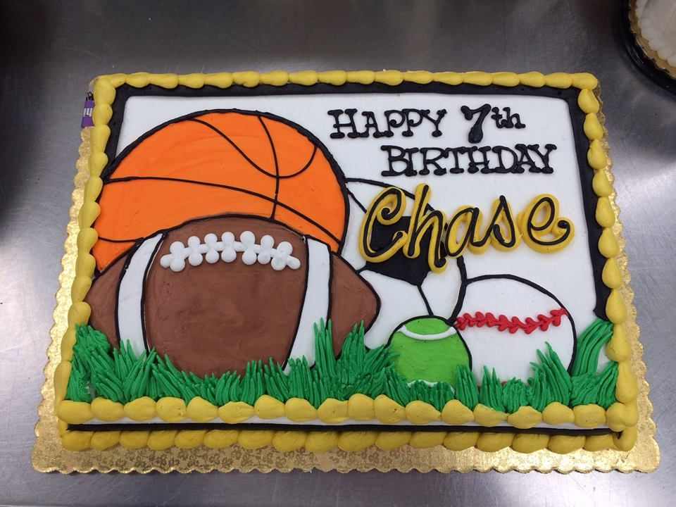Outstanding Sports Theme Birthday Cake By Stephanie Dillon Ls1 Hy Vee Funny Birthday Cards Online Alyptdamsfinfo