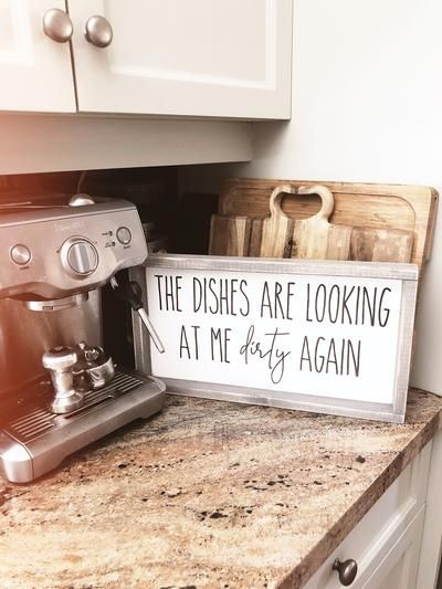 The Dishes Are Looking At Me Dirty Again Mini   Farmhouse Wood Sign