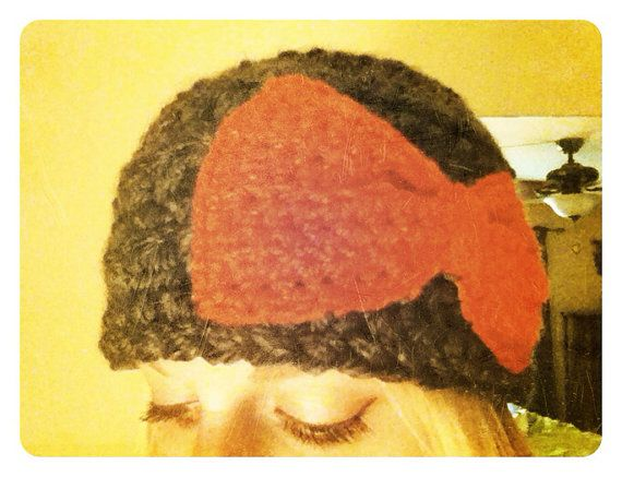 Bow Beanie by erinshooknook on Etsy