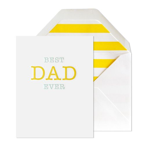 BEST DAD EVER CARD  $6.00  Our Best Dad Ever card is letterpress printed on antique machinery. Pool and yellow inks on bright white paper with bright white envelope and yellow stripe liner. Folded card, blank inside.    dimensions: 5.5 x 4.25 inches