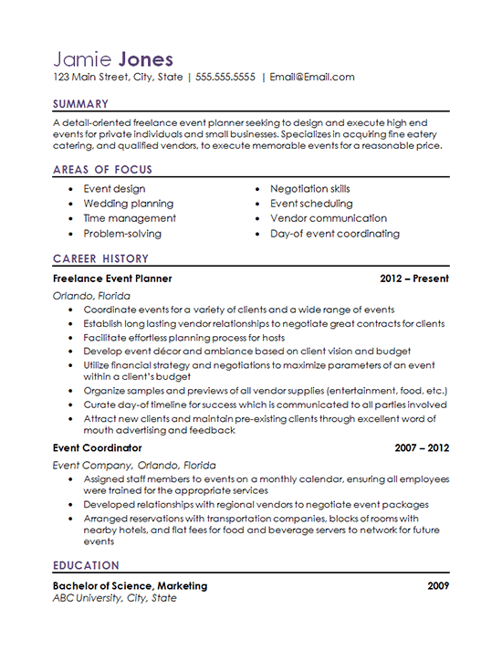 Event Coordinator Resume Example  Wedding Coordinator Resume