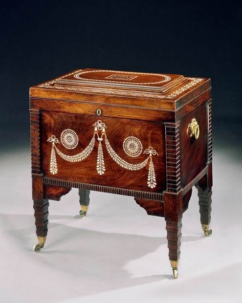 A GEORGE III MAHOGANY AND IVORY INLAID CELLARET - English Antique Furniture  – Ronald Ph. - A GEORGE III MAHOGANY AND IVORY INLAID CELLARET - English Antique