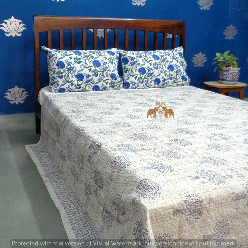 Indian Handmade Kantha Bedspread Quilt Queen Size Multi Color 100 Cotton Quilt Quilts Bedspreads Coverlets Print Bedding Home Decor Bedding Bed Spreads