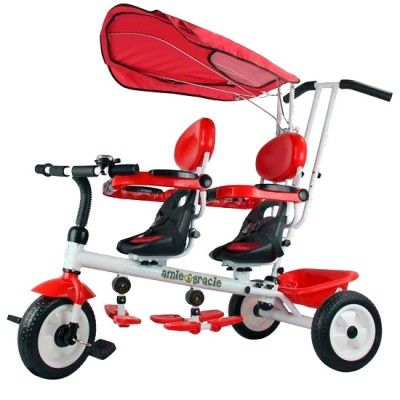 6017a8b9d72 schwinn toddler tandem tricycle with push bar | Twin Trike in Cherry Red &  White | amie & gracie