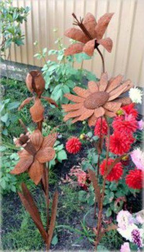 Iron Cut Flamingo Plant Stake Garden Outdoor Lawn Yard Decor