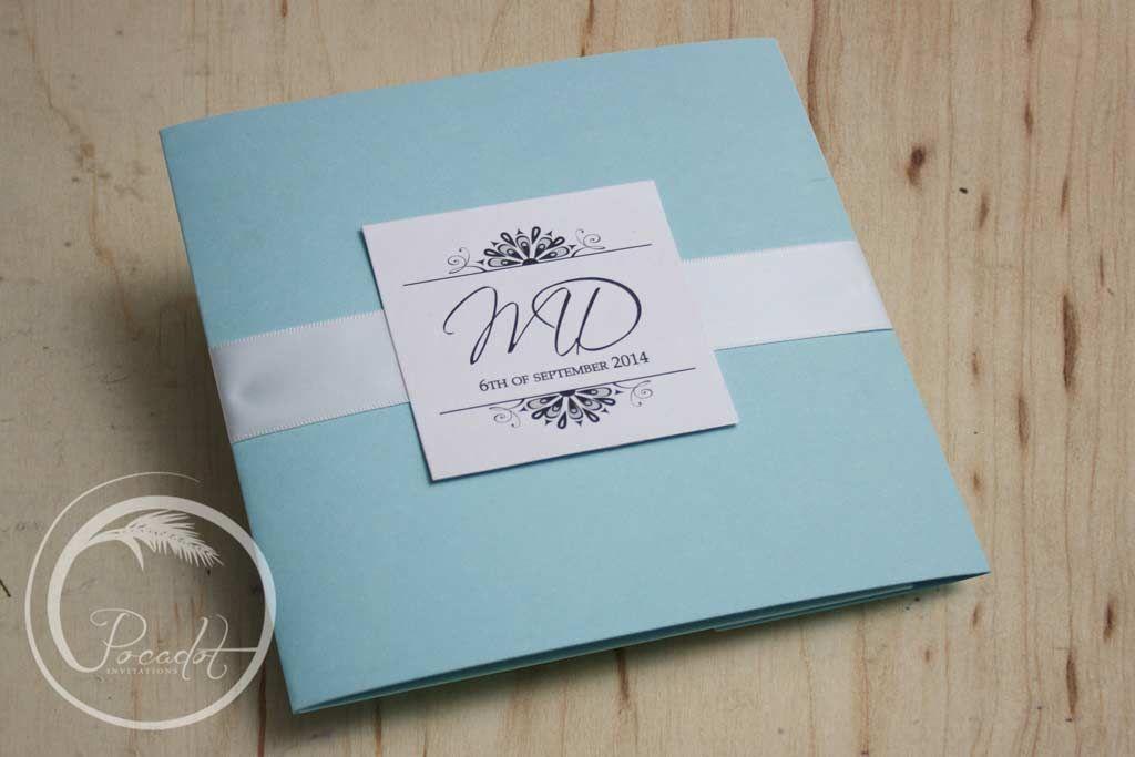 Tiffany Blue Pocket Wedding Invitation - Pocadot Invitations