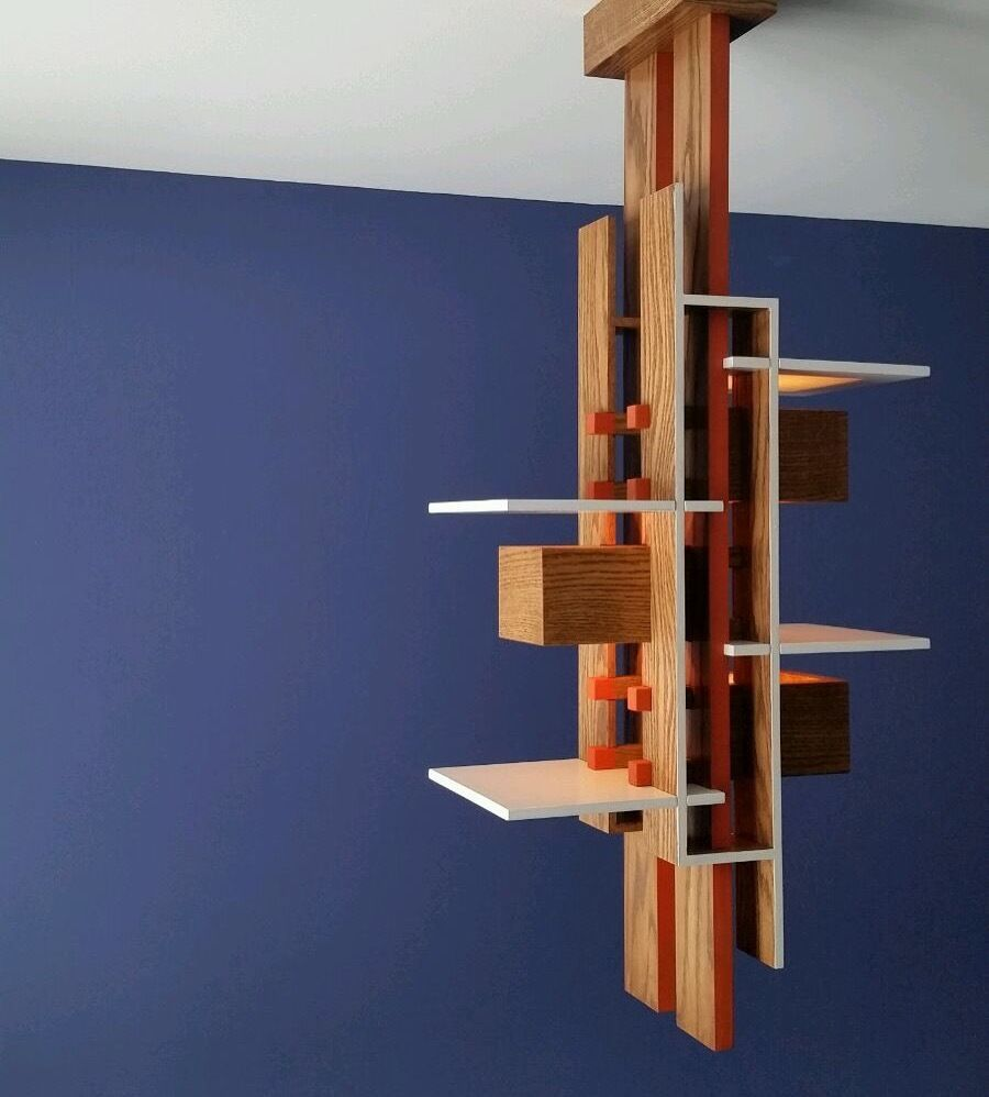Oak Taliesin 3 Pendant Light Ceiling Lamp Inspired By Frank Lloyd Wright Ebay
