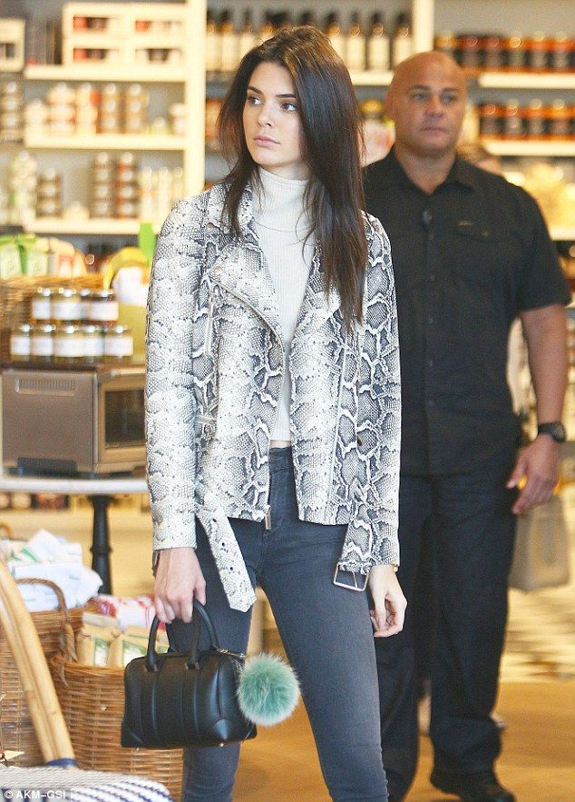 d1c622dd3e6f The sssssupermodel: Kendall, 20, looked sensational in a grey and white  snakeskin biker jacket, while her 60-year-old mother went for out-and-out  glamour in ...