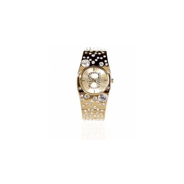 bebe.com : Scattered Crystal Round Dial Gold Watch found on Polyvore