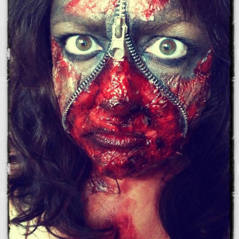 Zippered Face for Zombie Halloween.  The Walking Dead.  Meinterests@Pinterest