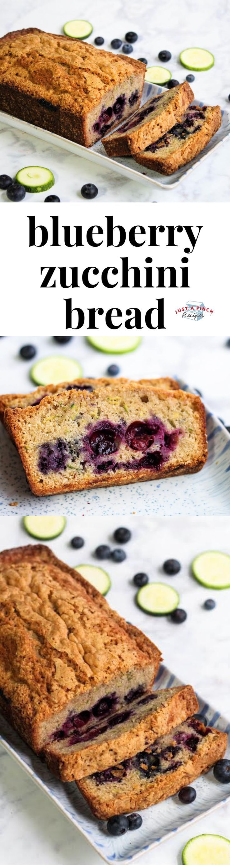 Blueberry Zucchini Bread Blueberry Zucchini Bread |  The bread is super moist with cinnamon flavor throughout. We loved the pop of sweet and tartness from the blueberries in every bite. This will be great for breakfast or as a light dessert.