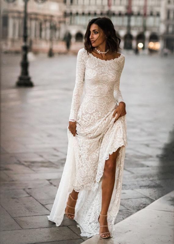 Jade Dress - Boho Wedding Dress, Indie Wedding Dress, Hippie Wedding Dress, Modest Wedding Dress, Long Sleeve We -