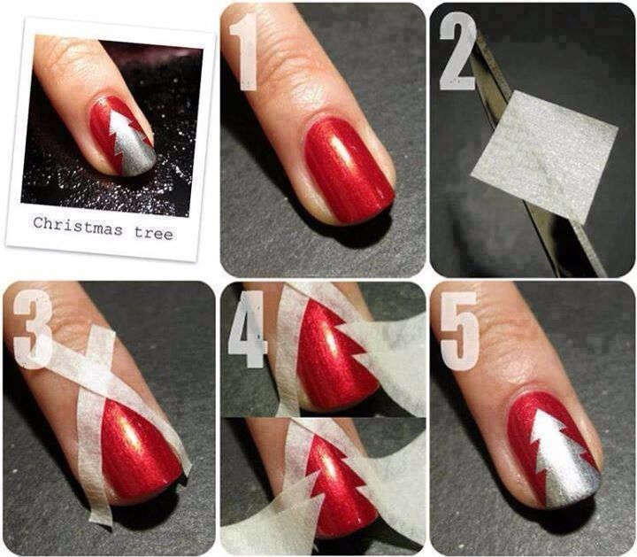 Christmas Tree Nail Art Tape Tutorial Tree Nails Holiday Nail Designs Christmas Tree Nail Art