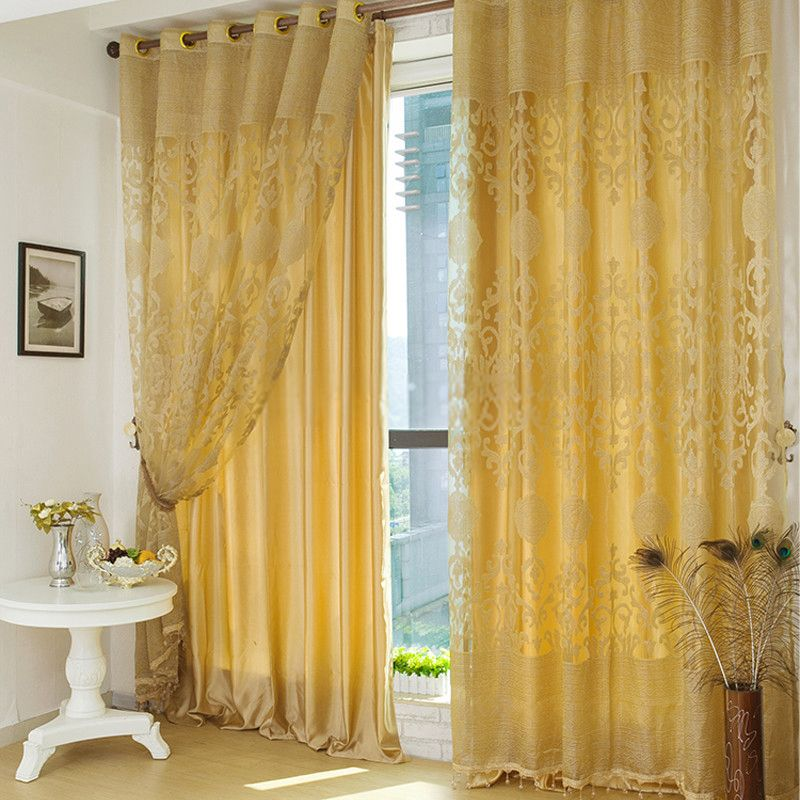 Luxury Polyester Fabric Gold Curtains In Living Room Gold Curtains Living Room Gold Curtains Living Curtains Living