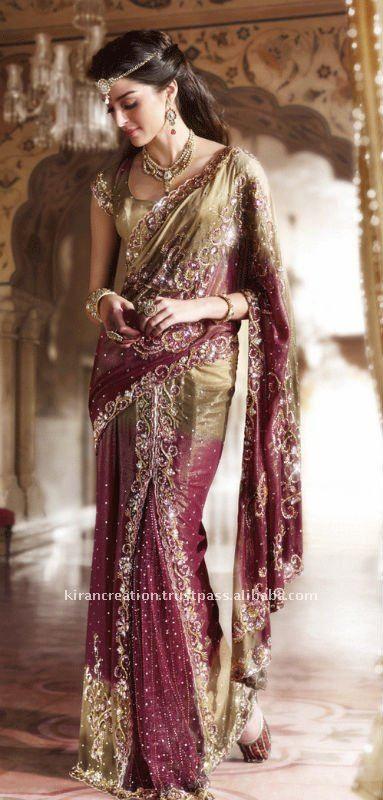 de novia del diseñador sari de la boda-Ropa de India y Pakistán ...