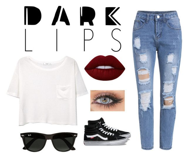 """""""Dark Lips"""" by emmasaff ❤ liked on Polyvore featuring MANGO, Lime Crime, Ray-Ban and Vans"""