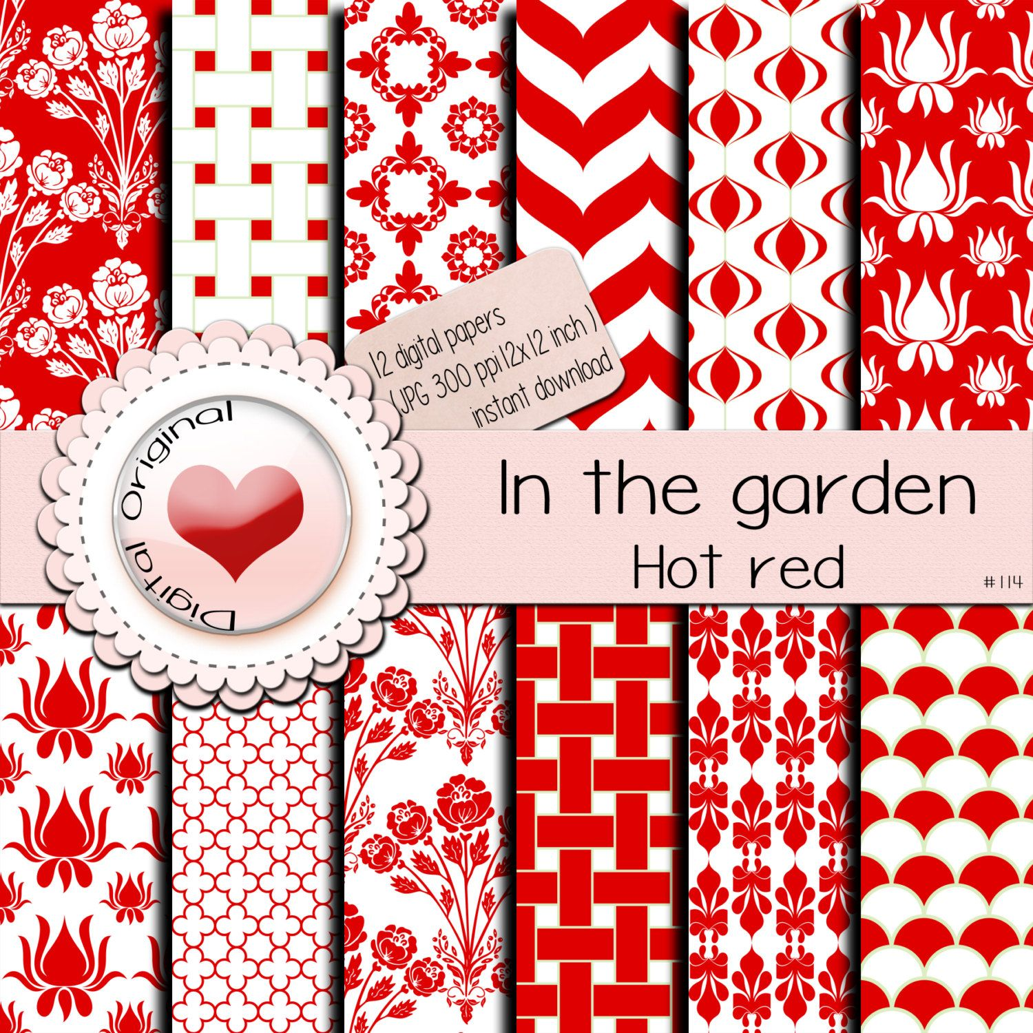 Digital papers / In the garden / Hot red / 12 sheets / 300 ppi / instant download /#114 de LilyColor.etsy.com en Etsy