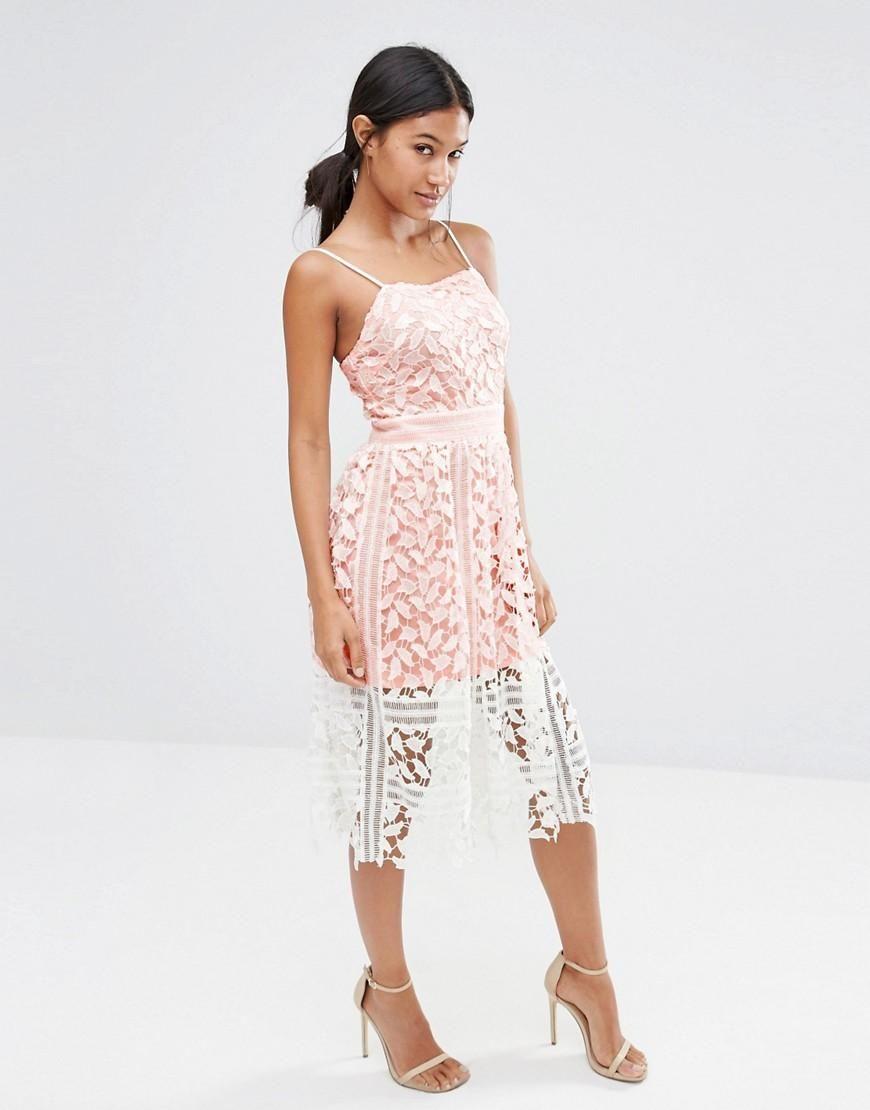 Boohoo Boohoo Exclusive Premium Lace Cami Midi Dress At