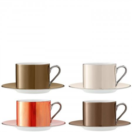 Polka teacup & saucer x 4 - Hand-painted with lustres in four assorted metallic colours, this gift-boxed set of teacups & saucers, with their platinum adorned rims and handles, instantly adds a touch of sophisticated glamour.
