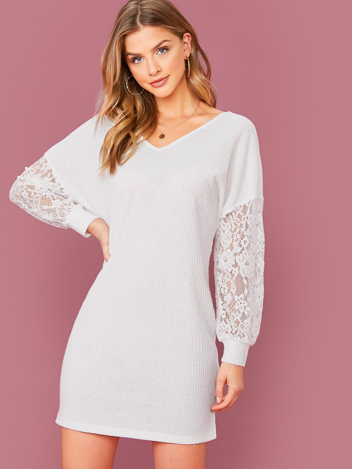 Twist Back Drop Shoulder Lace Sleeve Rib knit Dress Without
