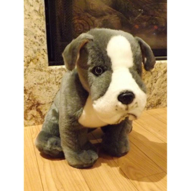 Pitbull Stuffed Animal Dog 16 Large Gray And White Plush Pitbull