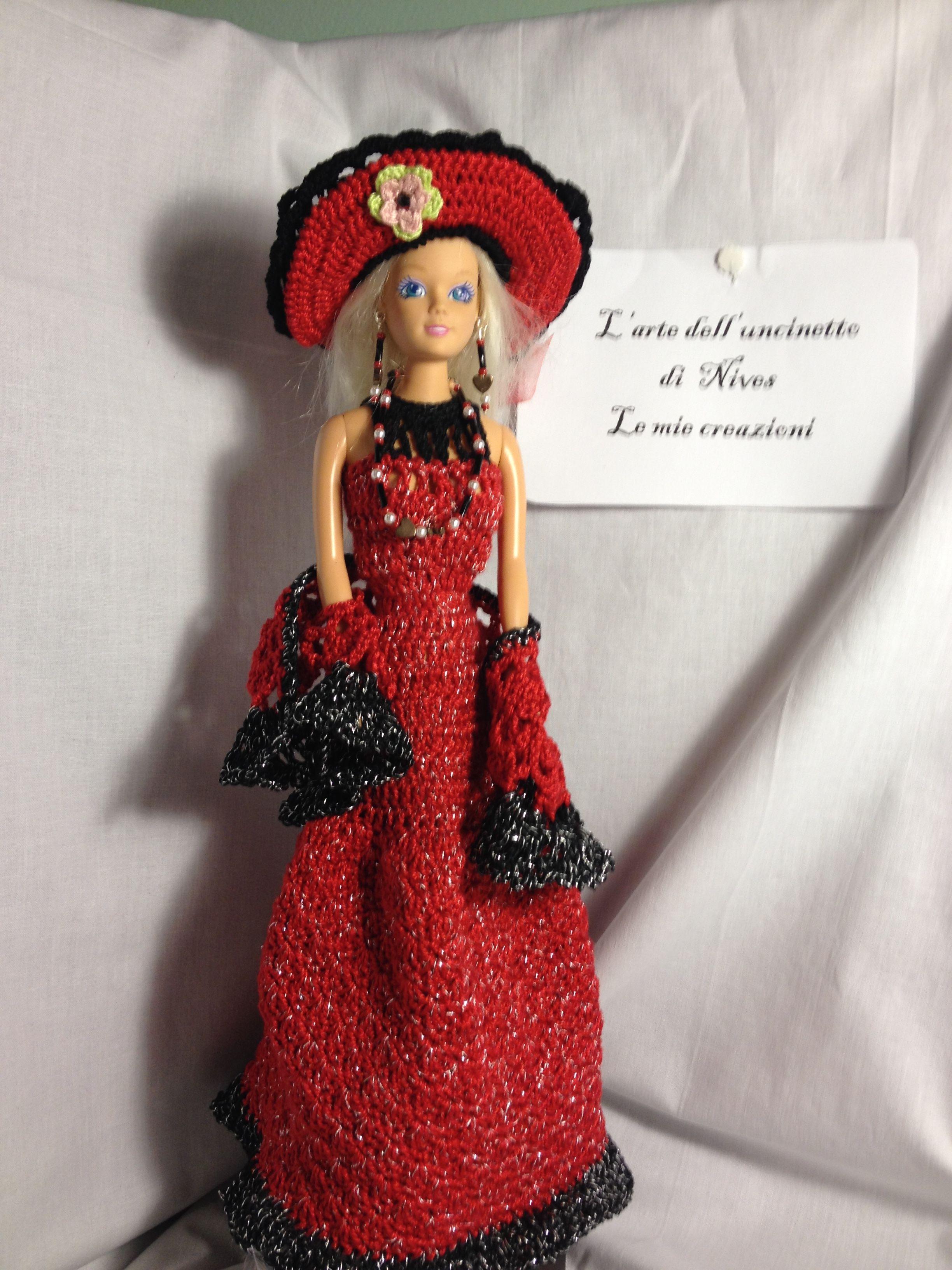 Dotted Delight ~ Dress Hat Parasol fits Barbie dolls crochet pattern leaflet