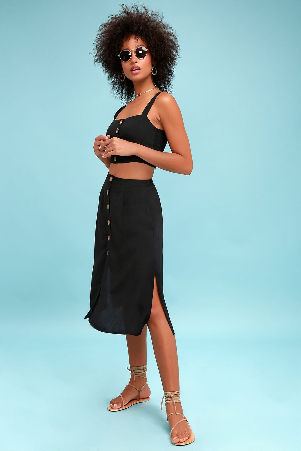 5872c8acfcc2 Lulus | Sweet as Ever Black Two-Piece Midi Dress | Size Large | 100 ...