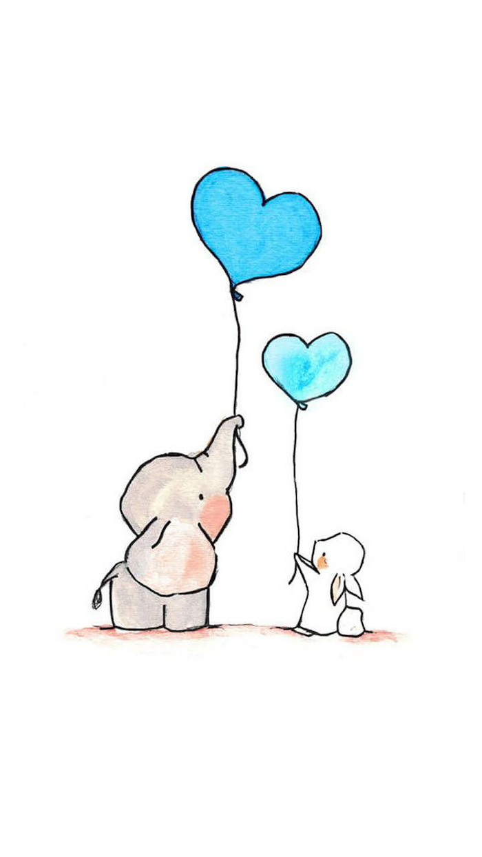 Baby Elephant And Rabbit Holding Two Blue Heart Shaped Balloons Cool Easy Drawings Colored Drawing Cute Easy Drawings Easy Animal Drawings Easy Drawings