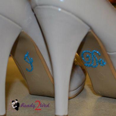 I Do Blue Crystal Wedding Shoe Sticker - I Do Clear (Blue) Crystal Wedding Shoe Sticker.   Put one...
