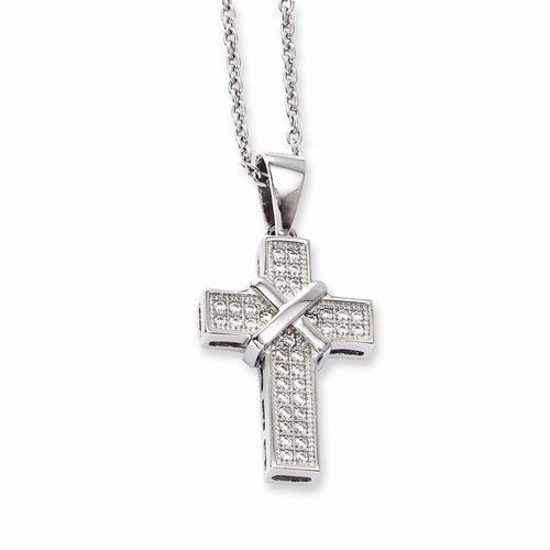 Silver cubic zirconia cross necklace sterling silver cubic zirconia cross necklace aloadofball Image collections