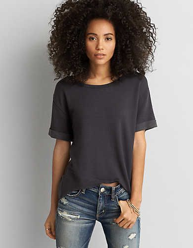 AEO Fleece Hi-Lo T-Shirt , Burgundy   American Eagle Outfitters