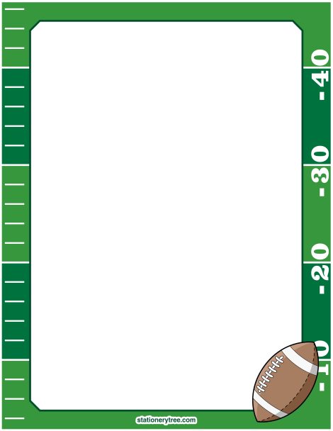 Printable football stationery and writing paper. Free PDF