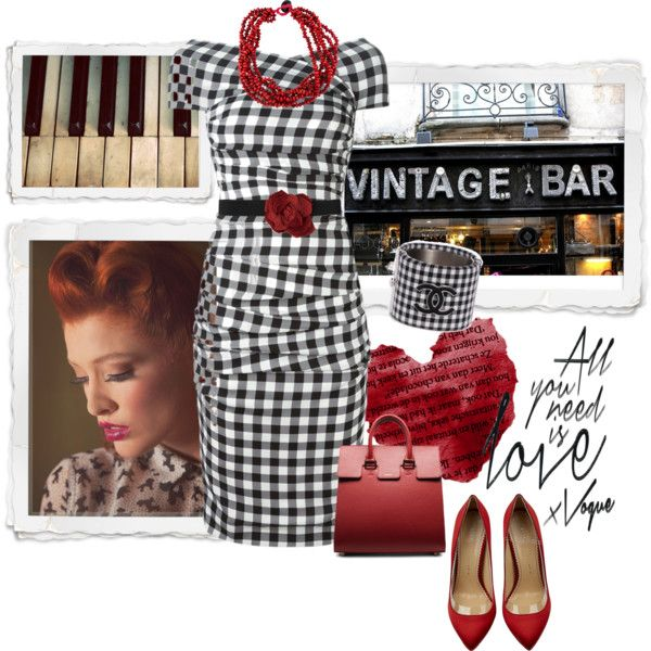 Vintage Gingham by alynncameron on Polyvore featuring Dolce&Gabbana, Charlotte Olympia, Eskandar, Lanvin and vintage