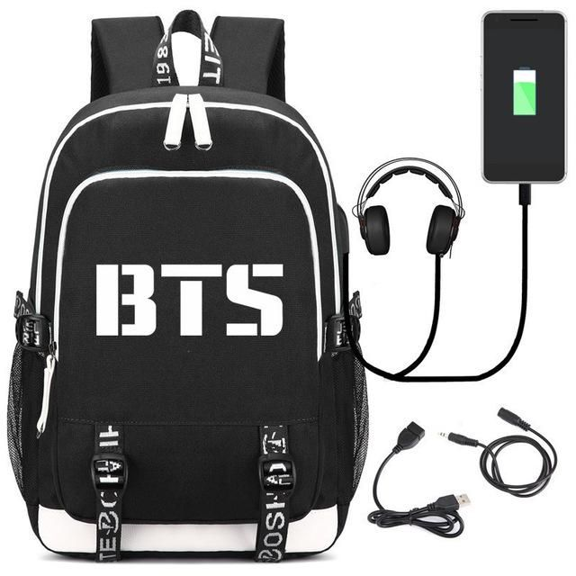 d995934234f43 2018 New BTS Bangtan Boys Printing Backpack Canvas School Bags for Teenage  Girls Usb Charging Laptop Backpack Unisex Travel Bag