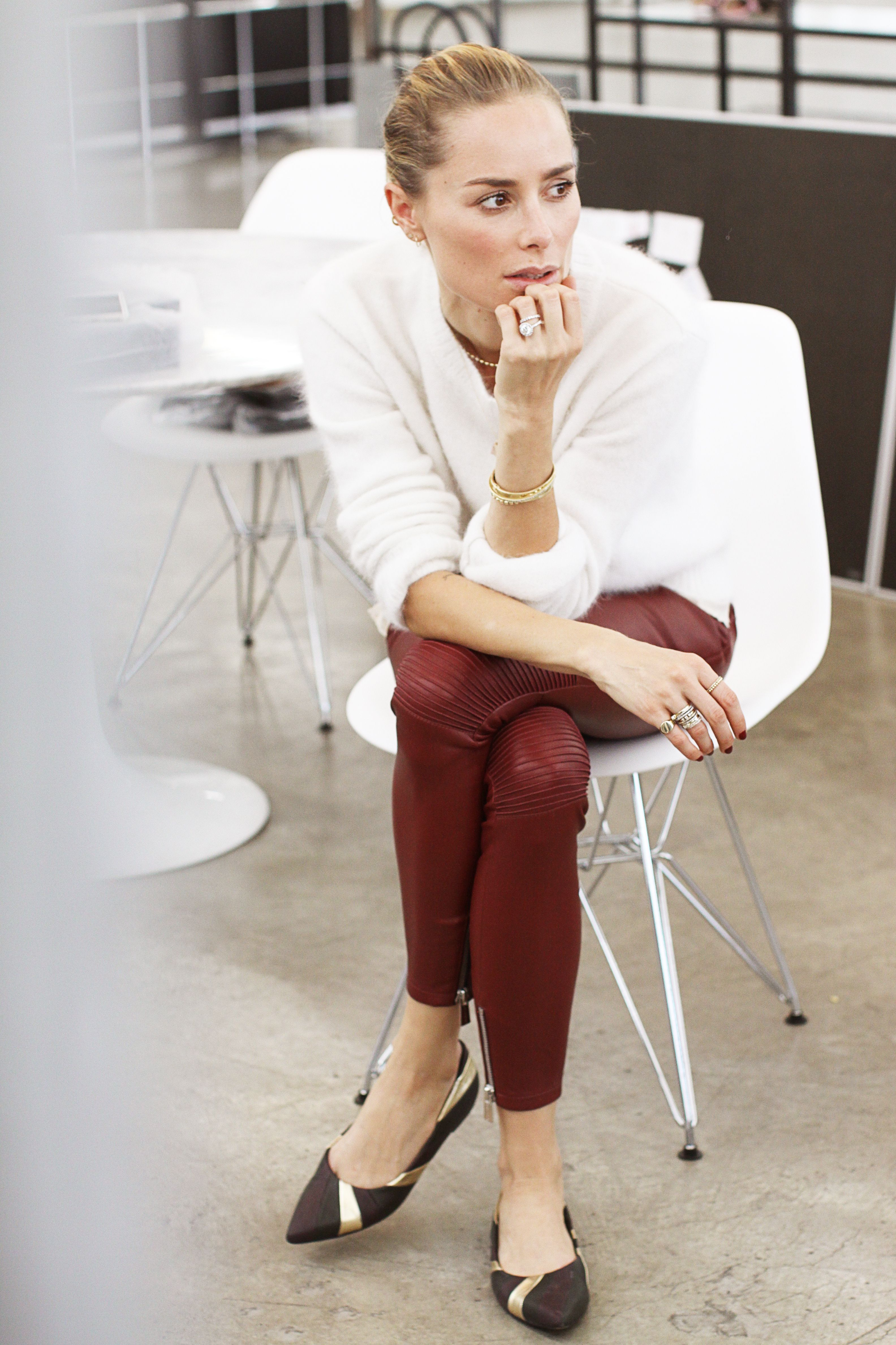 anine bing outfit white fuzzy knit red leather pants colette ballerinas sweater fine jewelry
