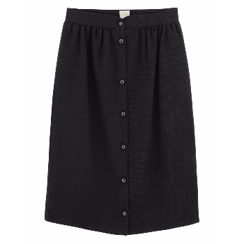 Des Petits Hauts Black Swan Skirt: High waisted simple slightly structured skirt with a button front.