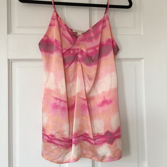 Pink watercolor spaghetti strap tank The perfect spring layering piece! Beautiful 100% silk spaghetti strap tank with adjustable straps. Gorgeous pink/peach/fuschia tones. Handwash and line dry. Worn only once! Banana Republic Tops