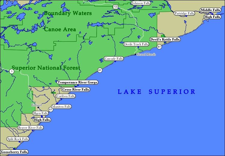 Cab Duluth Mn >> Map of Minnesota's North Shore Waterfalls | North shore minnesota, Minnesota travel, North shore mn