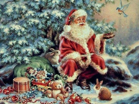 The Christmas Holiday Menu Is Here Vintage Christmas Vintage Santas Vintage Christmas Cards