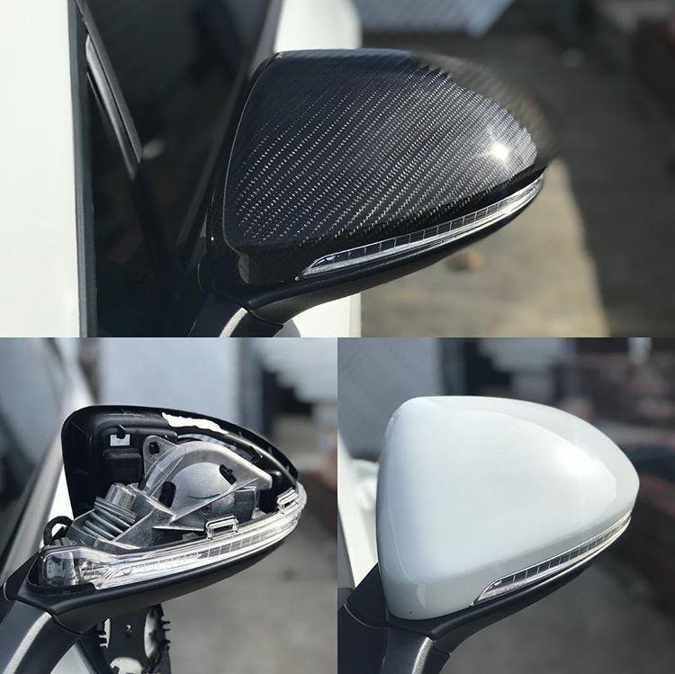 Set Of 2 Pinalloy Real Carbon Fiber Side Door Mirror Cover Trim For Vw Golf Mk7 Gti 2013 2018 Carbon Fiber Gti Custom Car Interior